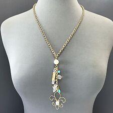 Design Turquoise Clear Stone Charm Necklace Unique Bohemian Gold Fleur De Lis