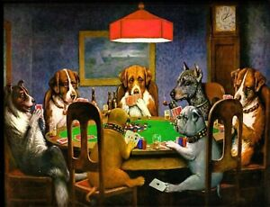 "TIN SIGN ""Dog Poker""  Humor Signs  Rustic Wall Decor"