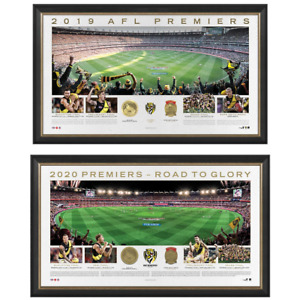 Richmond 2019 & 2020 AFL Premiers Official Panoramic Print Frame Package Deal