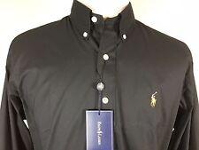 NEW POLO RALPH LAUREN Classic Fit Button Collar BLACK long sleeve SHIRT L