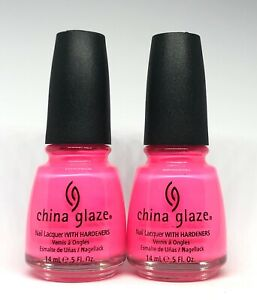 China Glaze Nail Polish SHOCKING PINK 1003 Neons Bubble Gum Lacquer White Label