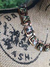 VTG MATISSE Renoir Copper Green Orange Yellow Speckled Enamel Choker Necklace