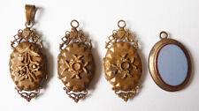 Lot 4 pendentifs reliquaire porte-photo 19e siècle bijou ancien Napoléon III
