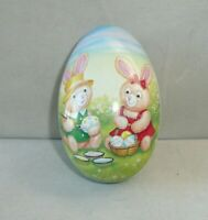 Vintage Tin Easter Egg Russ Berrie Tin Egg with Stuffed Bunny Rabbit New NWTS
