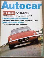 Autocar Magazine - 21 March 1968 - Lotus Elan +2, Austin America, Touring Maps