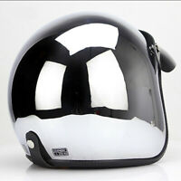 DOT Motorcycle Helmet Open Face Chrome Silver Half Jet Helmet Cruiser Scooter L