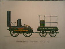Planche gravure publicitaire locomotive  train :Dewitt Clinton 1831 USA