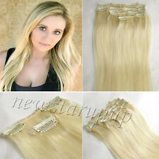 CLIP IN REMY REAL HUMAN HAIR EXTENSIONS 7PCS FULL HEAD 15COLORS ANY LENGTH