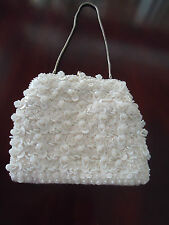 Vintage Sequined Cocktail Purse White Satin Small  Beaded Wedding Bag