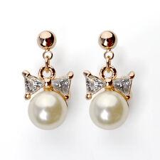 Lazo Pendientes de perlas Pendientes De Botón Oro chapado Perla Nácar Blanco