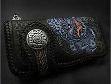Biker Leather Long Wallet with Dragon Metal Concho K04E88/lw3063