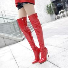 Plus Ladies Zip High Heel Pointed Toe Stiletto Over Knee Boots Shoes Sz47 DX01