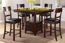 Ultra Modern Counter Height Chair Dark Chocolate Faux Rectangular Shaped Back