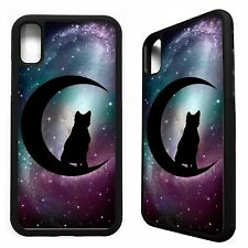 Black cat & crescent moon witch symbol rubber case cover for iphone X XS Max XR