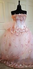 Blush Pink White & Gold Corset Embroidered Lace Wedding Bridal Ball Gown
