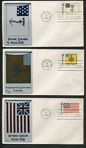 10 Metal Card Historic Flag Series 1968 FDC Pittsburgh US Stamps 1345-1354