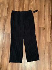 Jones New York Dress Pants Size 14 Black W Periwinkle Pin Stripes