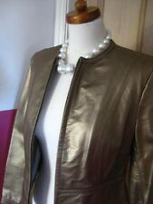 Ladies Marks and Spencer M&S short gold leather JACKET COAT size UK 18 16 bolero