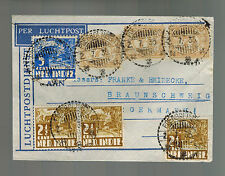 1935 Java Netherlands Indies Airmail Cover to Braunschweig Germany Multi Franked