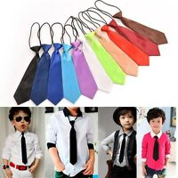 Satin Elastic Neck Tie for Wedding Prom Boys Children School Kids Ties B9
