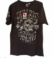 Bullzye Faded Black Racing Tee TShirt Size Small Skull Graphic Print
