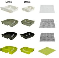 New Plastic Kitchen Sink Dish Drainer + Mats Cutlery Plate Cup Storage Rack Tidy