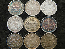 CANADA FIVE CENTS 9 COIN LOT NICER GRADE 1888,1891,1903,1904,1910,1911,1917,1920