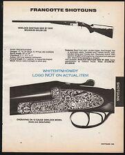 1991 FRANCOTTE Sidelock Side-by-Side Shotgun PRINT AD w/specs & original price