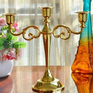 1pc gold 3 Arms Candle Holder Metal Pillar Candle Stick Wedding Event Candelabra
