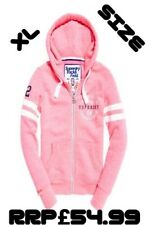 NEW RRP£54.99 XL SIZE 16 WOMENS SUPERDRY TRACK & FIELD ZIP HOODIE WINNING PINK