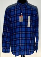 New NWT St. Johns Bay Blue Plaid Classic Fit Large Long Sleeve Flannel Shirt