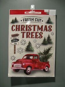 RED TRUCK CHRISTMAS WINDOW CLINGS 19 CLINGS