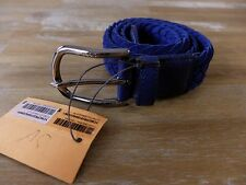 $350 TOD'S blue woven casual suede belt authentic - Size 85 - NWT