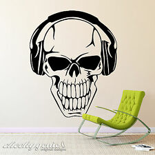 Skull Wearing Headphones Music Musical Vinyl Wall Art Sticker Decal