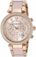 NEW Michael Kors Womens MK5896 Rose Gold Parker Blush Acetate Ladies Watch