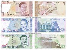 Kyrgyzstan 1 + 5 + 10 Som Lot de 3 billets 3 pcs UNC