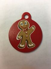 """Christmas Gingerbread Winter Themed Pet Charm Cat Dog Tag for Your Pet Red 1.25"""""""