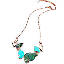 Red gold butterfly pendant turquoise enamel & mother of pearl necklace jewellery