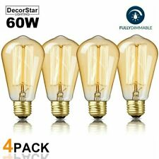 DecorStar Edison Light Bulbs Dimmable E26 60W Antique Vintage Light Bulb 4-Pack
