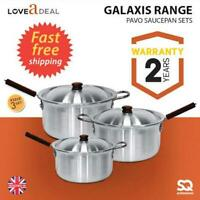 3pc Heavy Duty Aluminium Saucepan Cooking Pan Cookware Set Wooden Handles Large