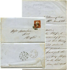 GB 1846 POST OFFICE DECLINED PAYMENT LETTER WALTER HOLCOMBE to BODENHAM HEREFORD