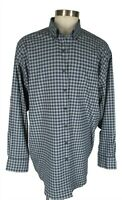 Peter Millar Mens Blue Grey Plaid Long Sleeve Shirt 2XT