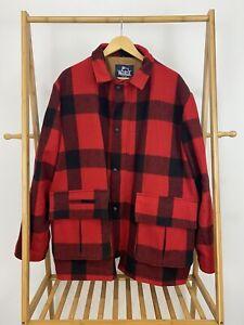 VTG Woolrich Buffalo Plaid Hunting Chore Mackinaw Jacket Coat Size XL EUC