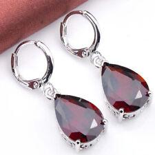 Angel's Tear Genuine Fire Red Garnet Platinum Plated Silver Danlge Drop Earrings