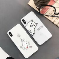 Clear Soft TPU Rubber Middle Finger Cat Phone Case Cover For iPhone X 6 7 8 plus