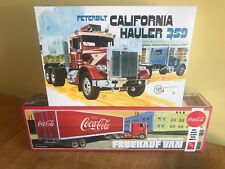 AMT 1/25 Peterbilt California Hauler and AMT 1/25 Coca Cola Beaded Panel Van