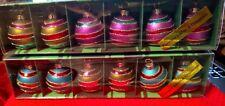 Kurt Adler Placecard Holders & Ornaments Gold Color Aqua Purple Red Green Stripe
