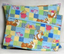 Pooh Toddler Pillow&Pillowcase multi-color squares 100%Cotton #P20 Handmade