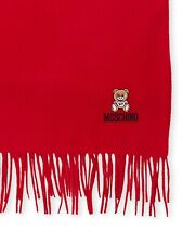 Moschino Embroidered Teddy Bear Fringed Scarf Red