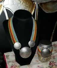 5 strand Colored Beads. 9 Inches Vintage Medallion Necklace And Bracelet Set.